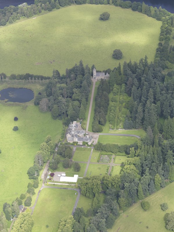 Oblique aerial view of Murthly Castle, taken from the SSE.
