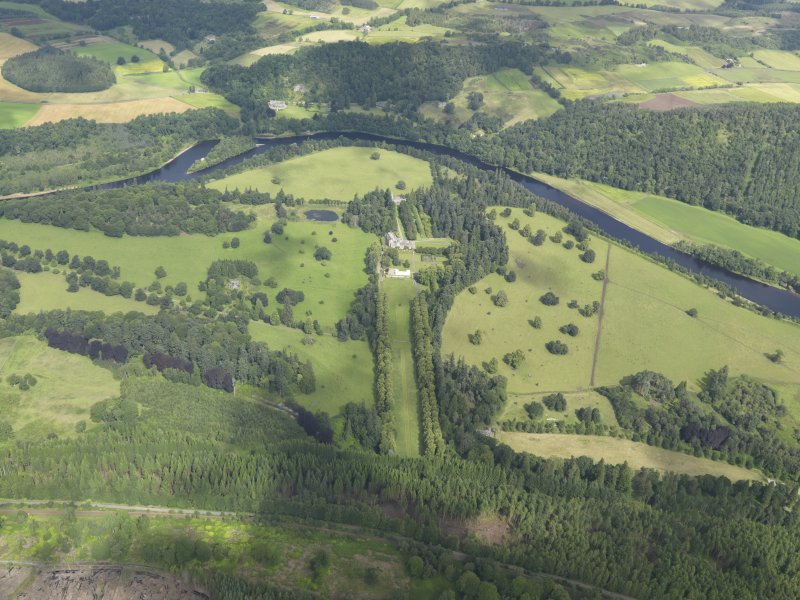 General oblique aerial view of Murthly Castle policies, centred on Murthly castle, taken from the SSE.
