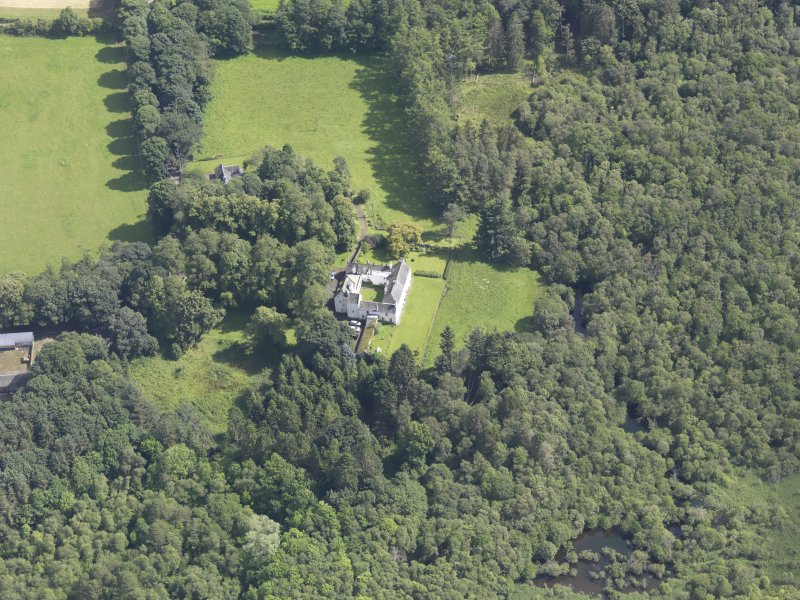 Oblique aerial view of Ardblair Castle, taken from the WSW.