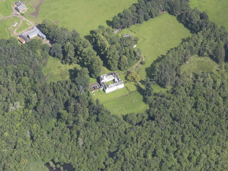 Oblique aerial view of Ardblair Castle, taken from the SSE.