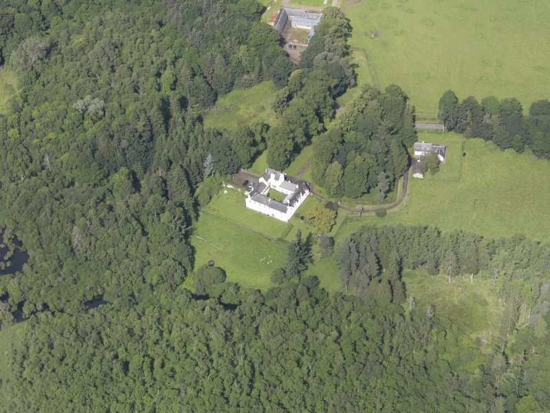 Oblique aerial view of Ardblair Castle, taken from the SE.