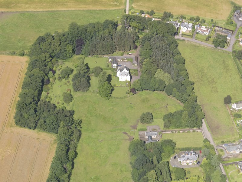 Oblique aerial view of Newton Castle, taken from the SE.