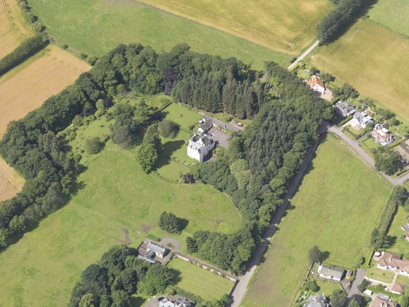 Oblique aerial view of Newton Castle, taken from the E.