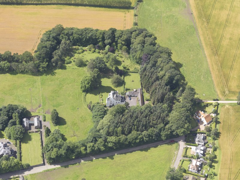 Oblique aerial view of Newton Castle, taken from the NE.