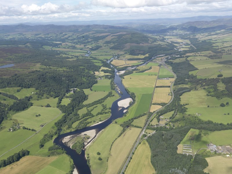 General oblique aerial view of Upper Strathtay, taken from the NE.