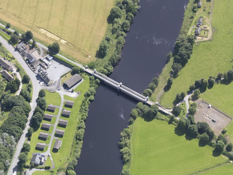 Oblique aerial view of Logierait Viaduct, taken from the NW.