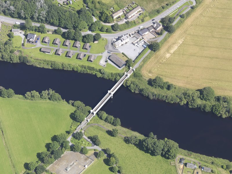 Oblique aerial view of Logierait Viaduct, taken from the SW.