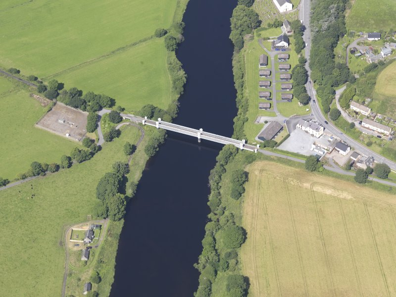 Oblique aerial view of Logierait Viaduct, taken from the ESE.