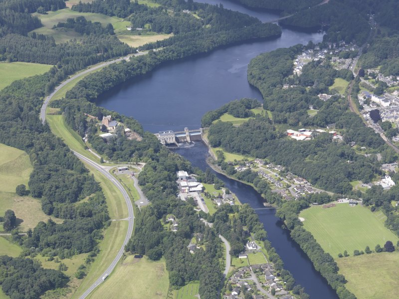Oblique aerial view of Pitlochry Dam, taken from the SE.