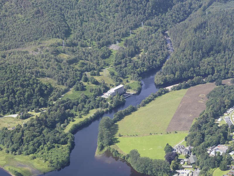 Oblique aerial view of Clunie Power Station, taken from the E.