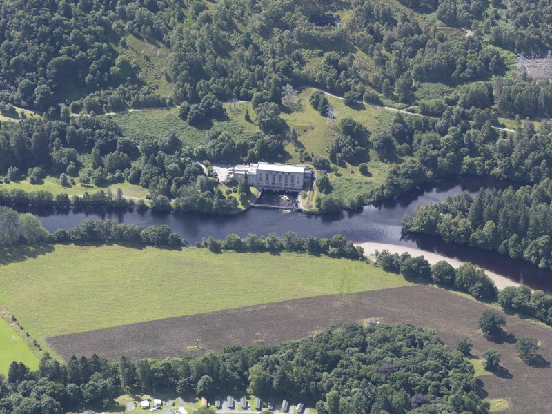 Oblique aerial view of Clunie Power Station, taken from the SW.