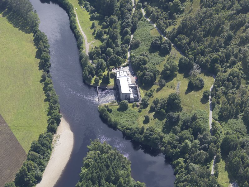 Oblique aerial view of Clunie Power Station, taken from the NNW.