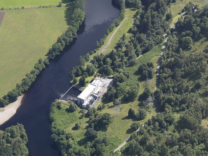 Oblique aerial view of Clunie Power Station, taken from the WNW.