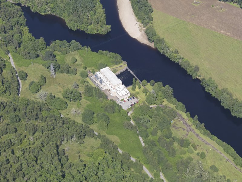 Oblique aerial view of Clunie Power Station, taken from the SSE.