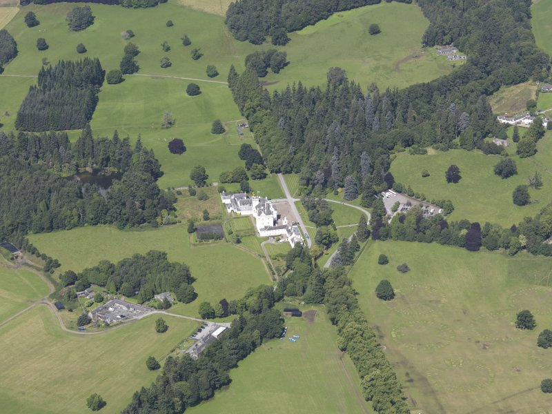 Oblique aerial view of Blair Castle, taken from the SW.