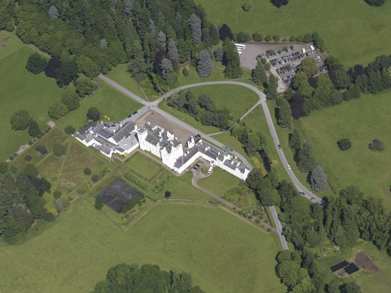 Oblique aerial view of Blair Castle, taken from the SSW.