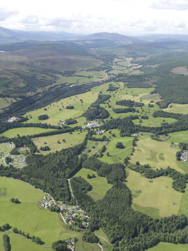 General oblique aerial view of Blair Castle policies centred on the castle, taken from the E.