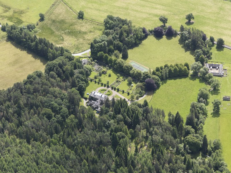 Oblique aerial view of Auchleeks House, taken from the N.