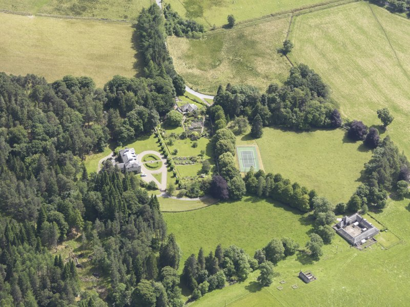 Oblique aerial view of Auchleeks House, taken from the WSW.