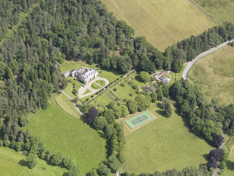 Oblique aerial view of Auchleeks House, taken from the SSW.