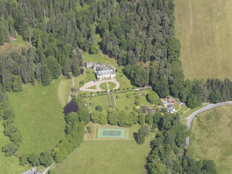 Oblique aerial view of Auchleeks House, taken from the S.
