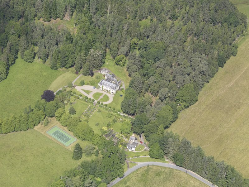 Oblique aerial view of Auchleeks House, taken from the SSE.