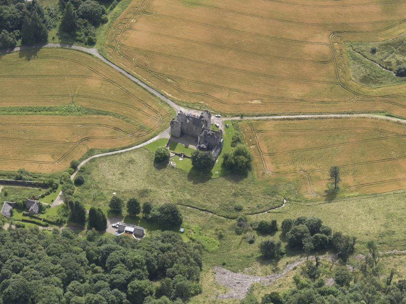 Oblique aerial view of Castle Menzies, taken from the NNW.