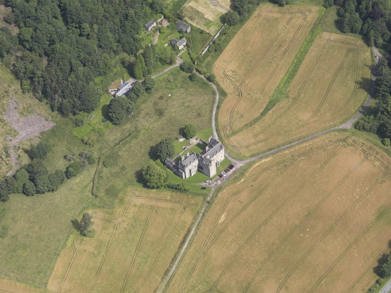 Oblique aerial view of Castle Menzies, taken from the W.