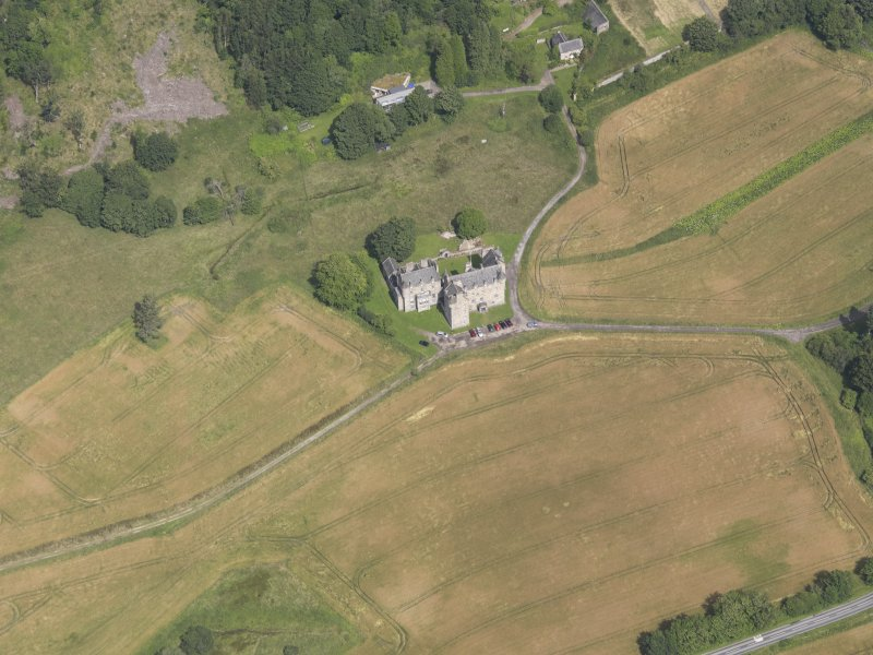 Oblique aerial view of Castle Menzies, taken from the SSW.