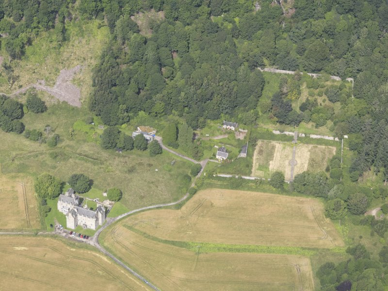 Oblique aerial view of Castle Menzies, taken from the SSE.