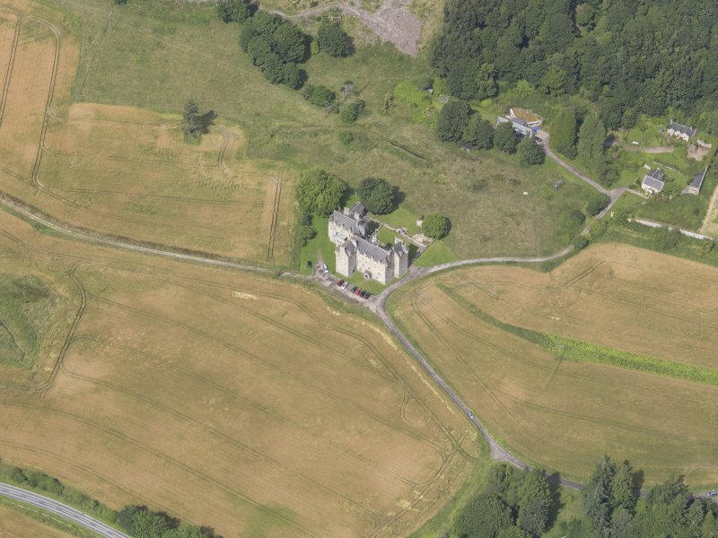 Oblique aerial view of Castle Menzies, taken from the SE.