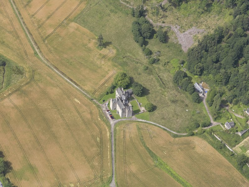 Oblique aerial view of Castle Menzies, taken from the ESE.