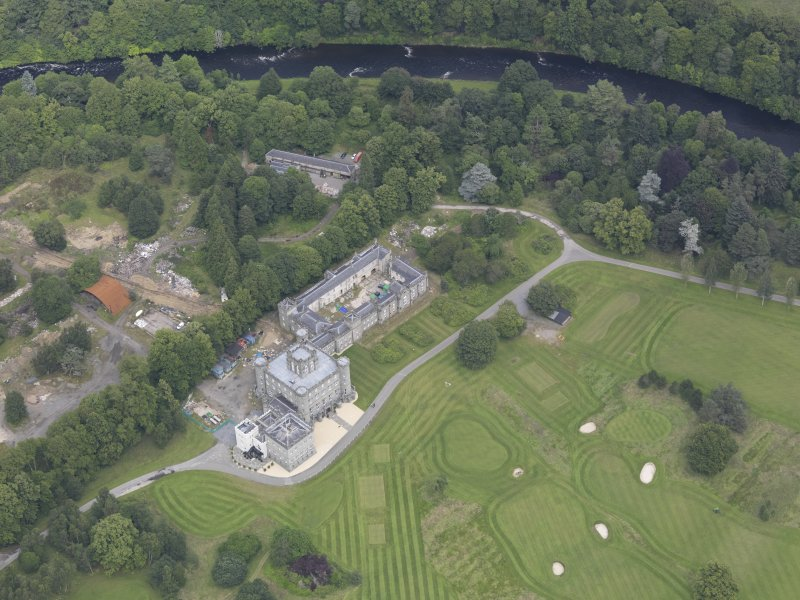 Oblique aerial view of Taymouth Castle, taken from the S.