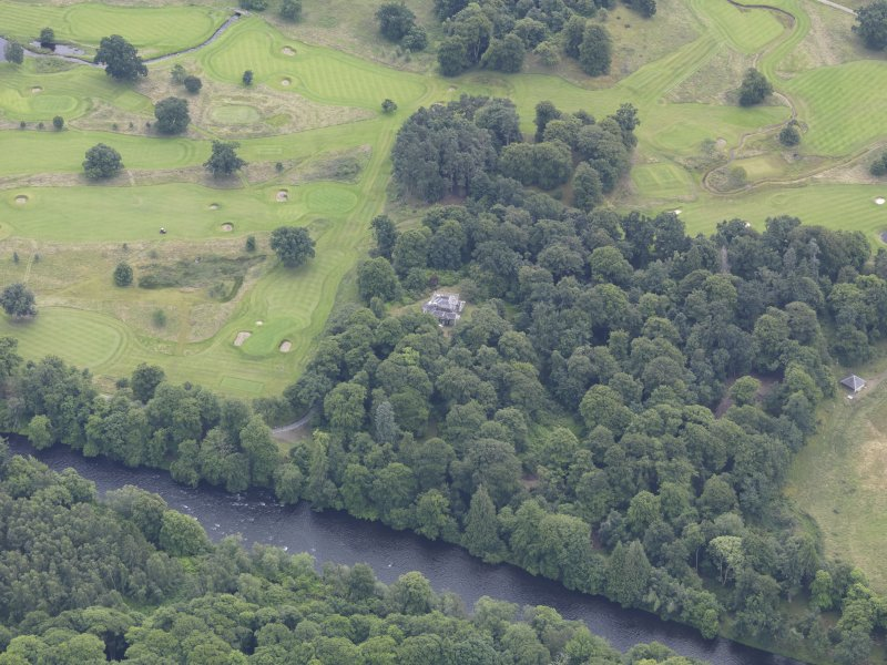 Oblique aerial view of Taymouth Castle dairy, taken from the NW.