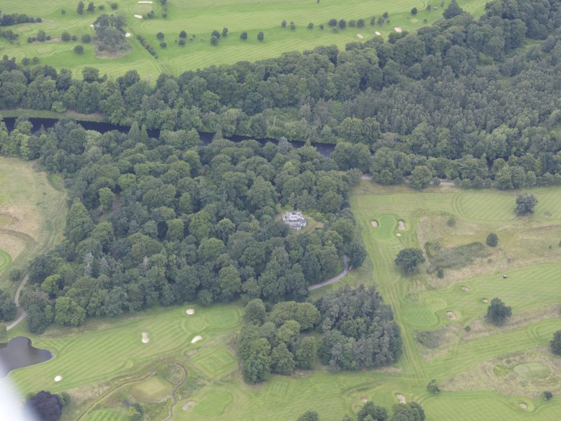 Oblique aerial view of Taymouth Castle dairy, taken from the SSE.
