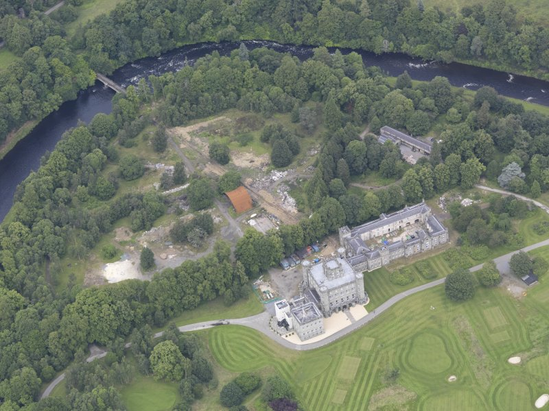 Oblique aerial view of Taymouth Castle, taken from the SW.