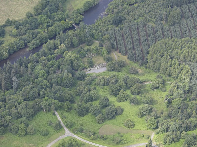 Oblique aerial view of Taymouth Castle Fort Lodge, taken from the SE.
