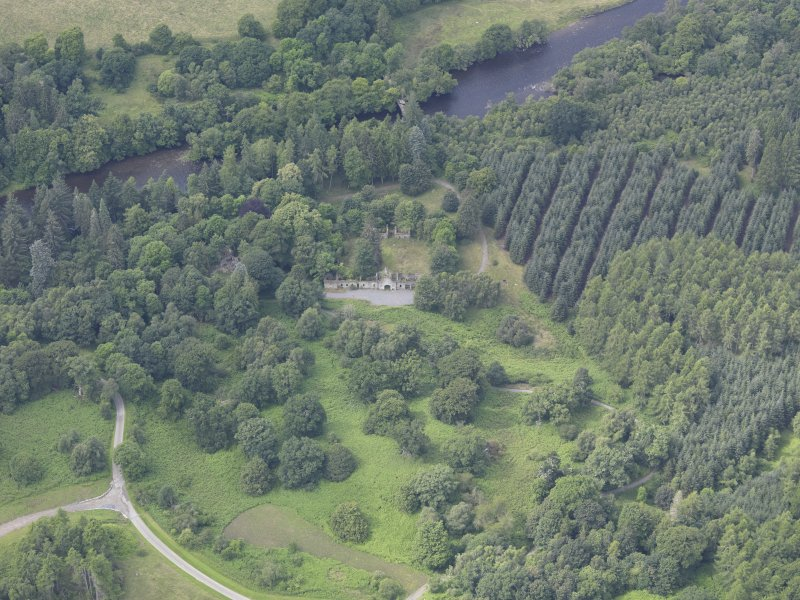 Oblique aerial view of Taymouth Castle Fort Lodge, taken from the E.