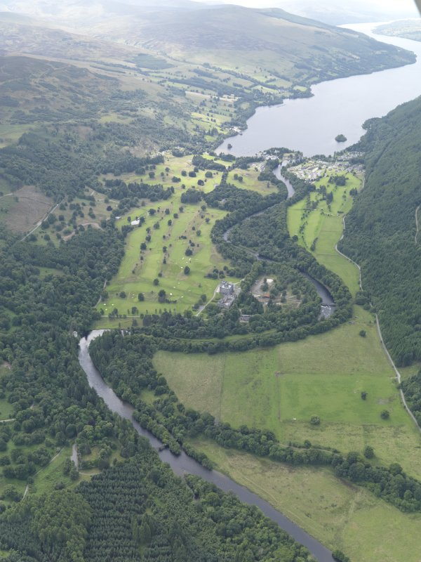 General oblique aerial view of the River Tay centred on the Taymouth Golf Courses, taken from the E.