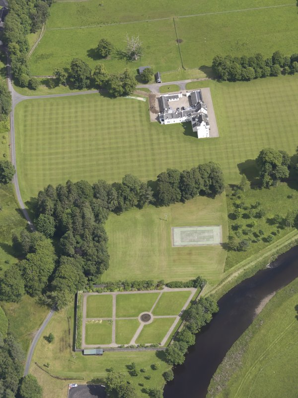 Oblique aerial view of Meggernie Castle, taken from the SW.