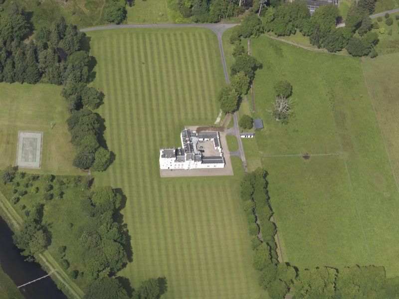 Oblique aerial view of Meggernie Castle, taken from the S.