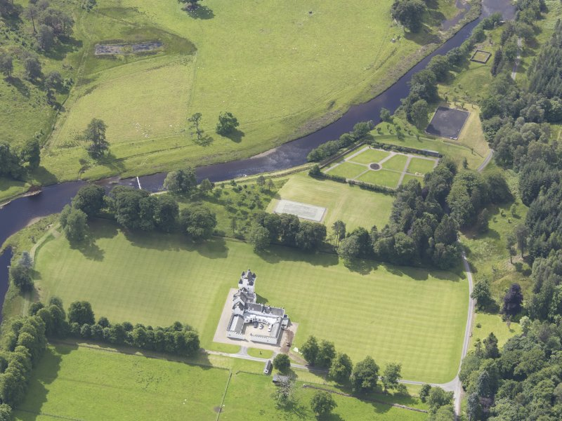 Oblique aerial view of Meggernie Castle, taken from the ENE.