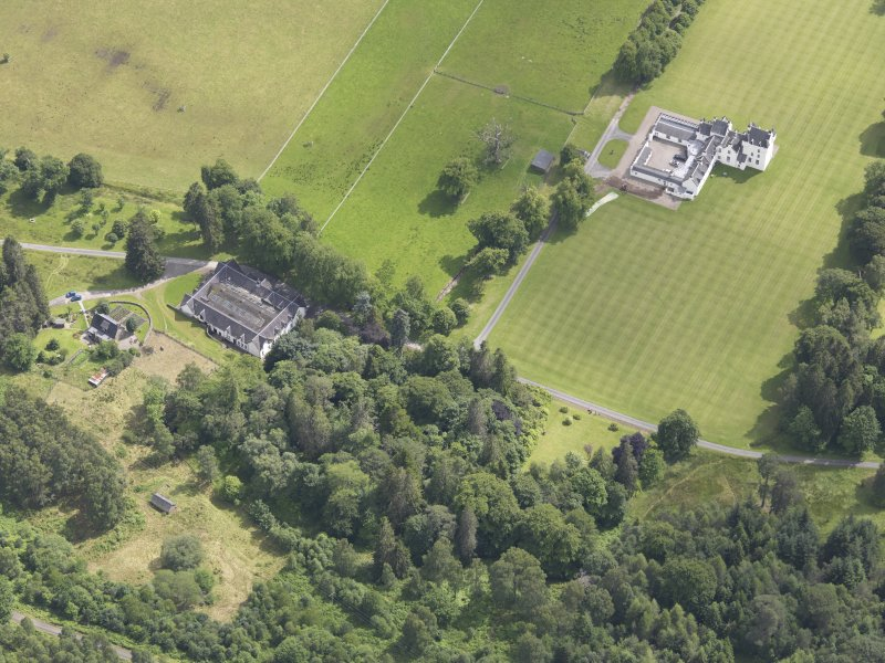 Oblique aerial view of Meggernie Castle, taken from the NW.