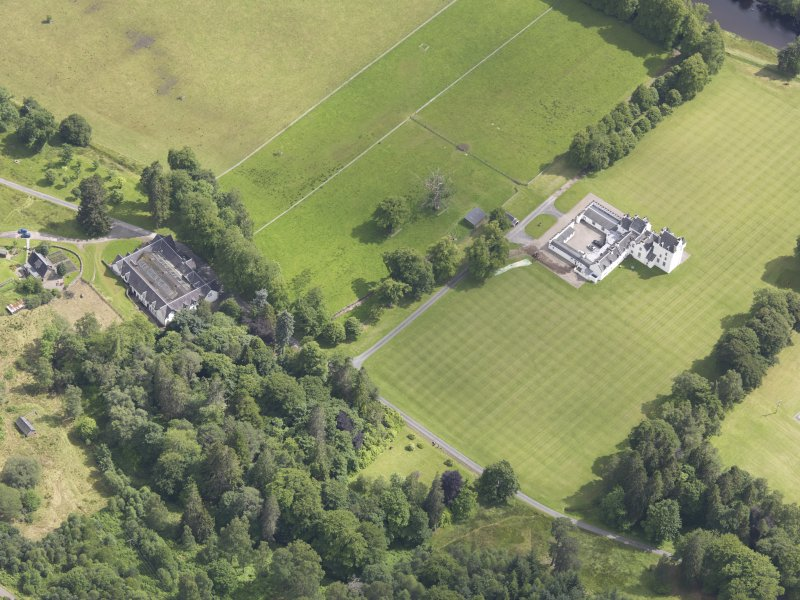 Oblique aerial view of Meggernie Castle, taken from the WNW.