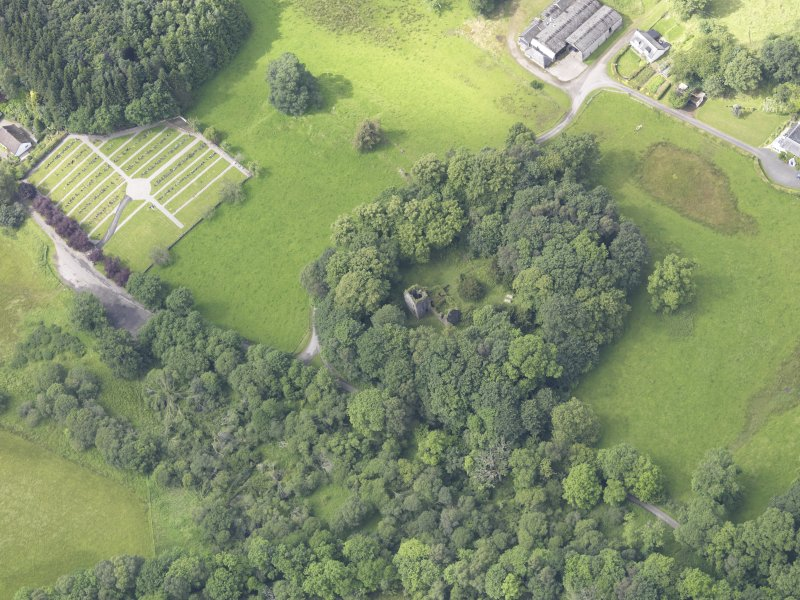 Oblique aerial view of Finlarig Castle, taken from the SE.