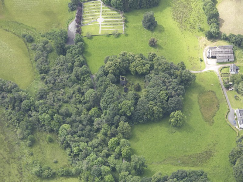 Oblique aerial view of Finlarig Castle, taken from the ENE.