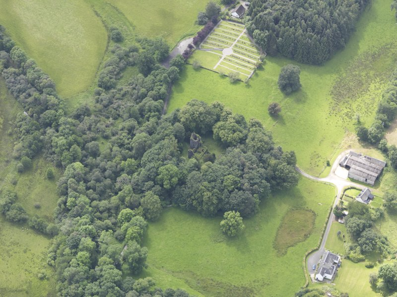 Oblique aerial view of Finlarig Castle, taken from the NE.