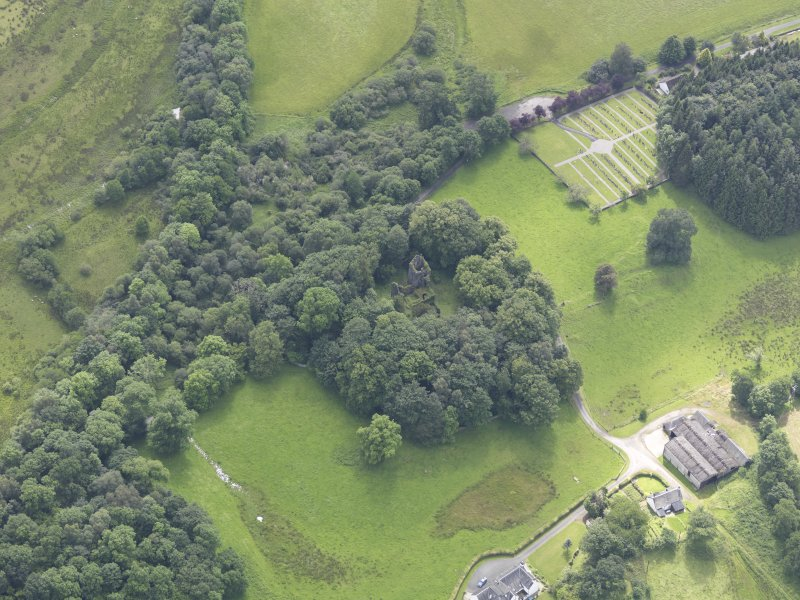 Oblique aerial view of Finlarig Castle, taken from the N.