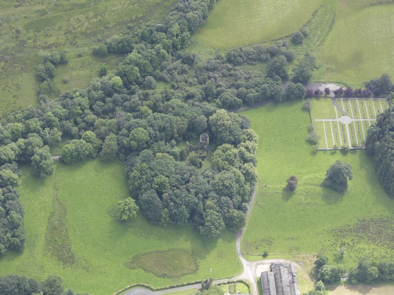 Oblique aerial view of Finlarig Castle, taken from the NNW.