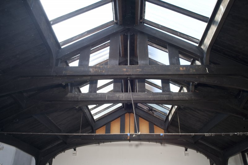 Interior. Detail of upper floor hall roof structure.